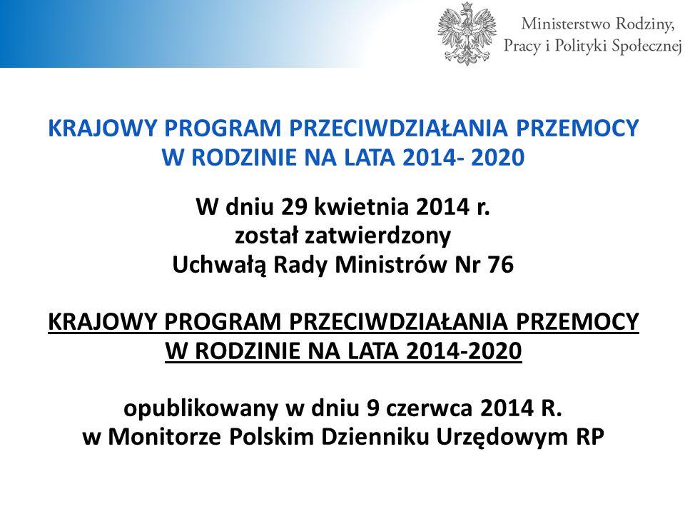 KRAJOWY PROGRAM PRZECIWDZIAŁANIA PRZEMOCY W RODZINIE NA LATA 2014- 2020 W dniu 29 kwietnia 2014 r. został zatwierdzony Uchwałą Rady Ministrów Nr 76 KR
