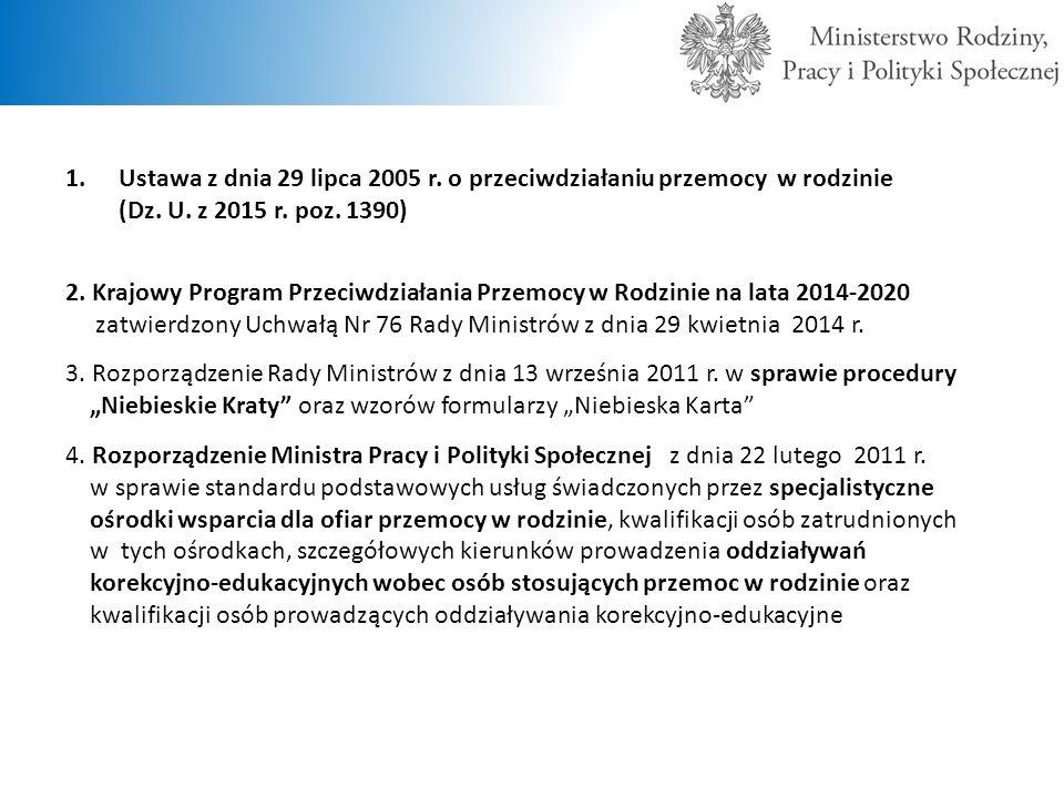 USTAWA Z DNIA 29 LIPCA 2005 R.O PRZECIWDZIAŁANIU PRZEMOCY W RODZINIE (Dz.