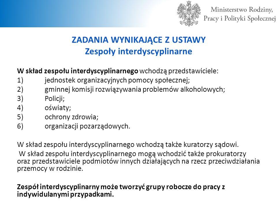ZADANIA WYNIKAJĄCE Z USTAWY Zespoły interdyscyplinarne W skład zespołu interdyscyplinarnego wchodzą przedstawiciele: 1)jednostek organizacyjnych pomoc