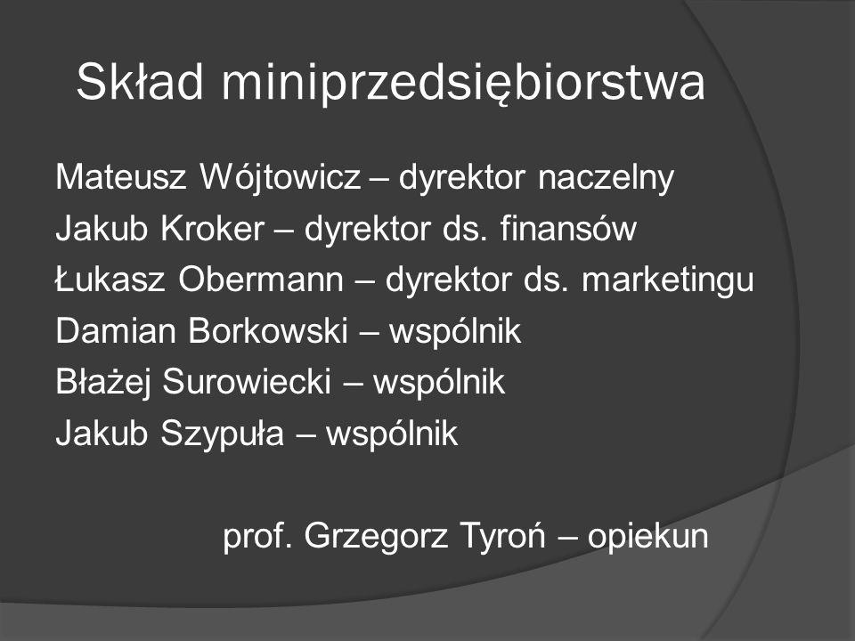 Skład miniprzedsiębiorstwa Mateusz Wójtowicz – dyrektor naczelny Jakub Kroker – dyrektor ds. finansów Łukasz Obermann – dyrektor ds. marketingu Damian
