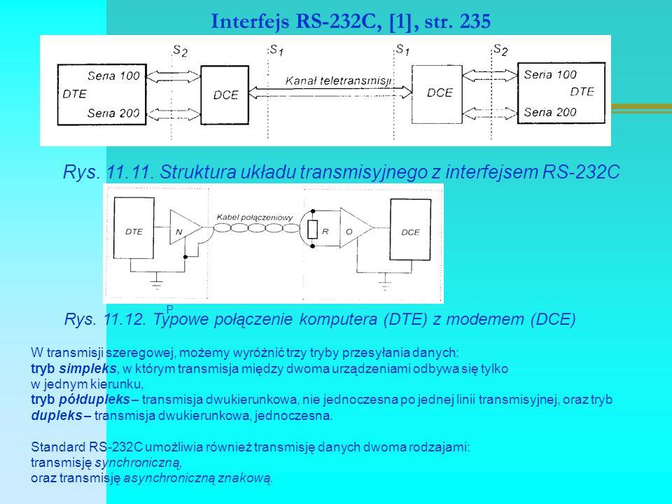 Interfejs RS-232C, [1], str. 235 Rys. 11.11. Struktura układu transmisyjnego z interfejsem RS-232C P Rys. 11.12. Typowe połączenie komputera (DTE) z m