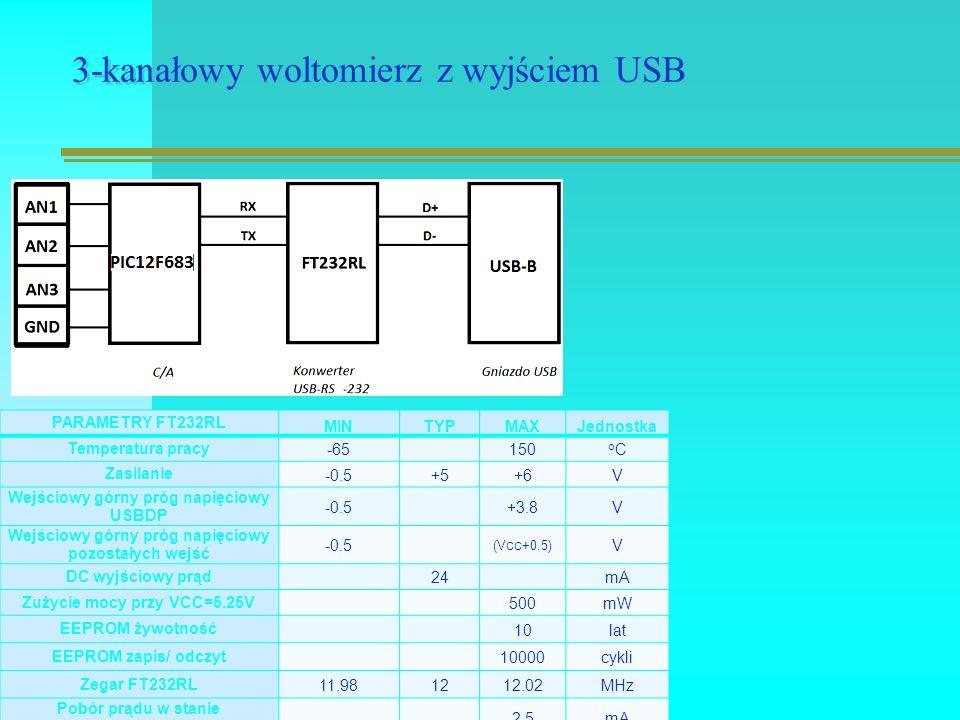 3-kanałowy woltomierz z wyjściem USB PARAMETRY FT232RL MINTYPMAXJednostka Temperatura pracy -65 150 oCoC Zasilanie -0.5+5+6V Wejściowy górny próg napięciowy USBDP -0.5 +3.8V Wejściowy górny próg napięciowy pozostałych wejść -0.5 (V CC +0.5) V DC wyjściowy prąd 24 mA Zużycie mocy przy VCC=5.25V 500mW EEPROM żywotność 10lat EEPROM zapis/ odczyt 10000cykli Zegar FT232RL 11.981212.02MHz Pobór prądu w stanie bezczynności 2,5mA