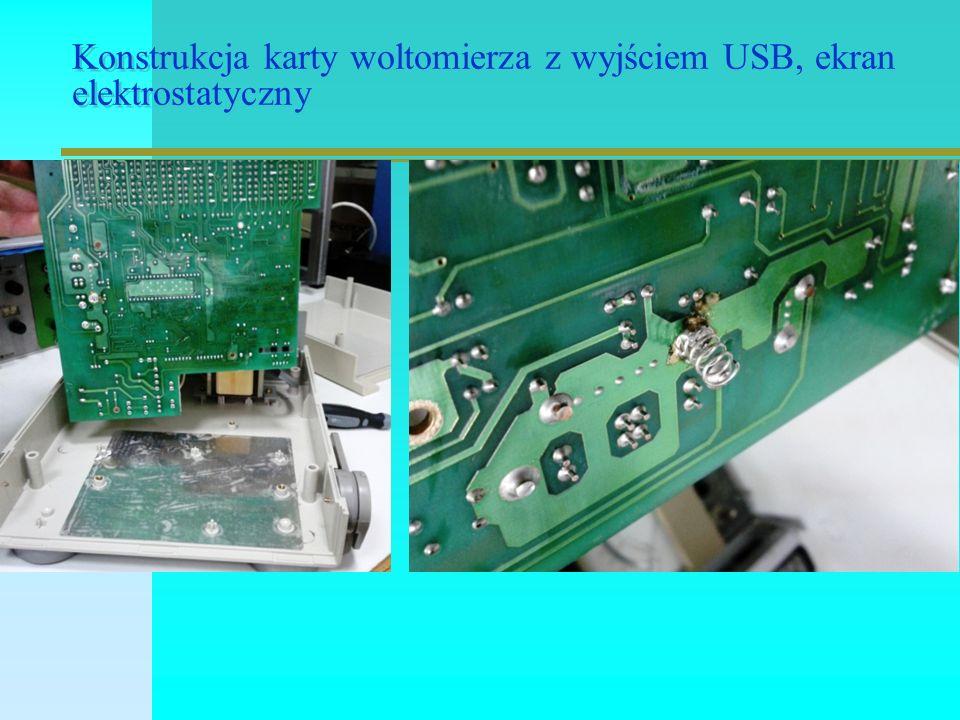 Konstrukcja karty woltomierza z wyjściem USB, ekran elektrostatyczny