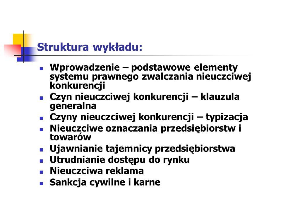 Wprowadzenie (1) Uczciwość konkurencji jako jednak z trzech wartości konkurencyjnej gospodarki rynkowej ZNKU z 1993 r.; krótka historia ZNKU (1927 – 1993; aktualny stan) ZNKU a inne prawo polskie i unijne, głównie OKiKU z 2007 r.