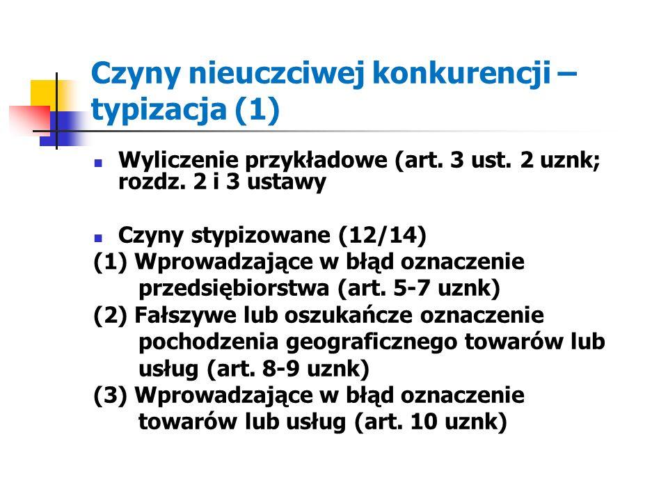 Czyny nieuczciwej konkurencji – typizacja (1) Wyliczenie przykładowe (art. 3 ust. 2 uznk; rozdz. 2 i 3 ustawy Czyny stypizowane (12/14) (1) Wprowadzaj