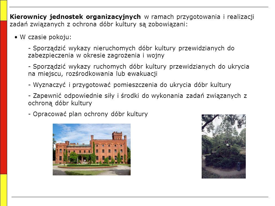 Kierownicy jednostek organizacyjnych w ramach przygotowania i realizacji zadań związanych z ochrona dóbr kultury są zobowiązani: W czasie pokoju: - Sp