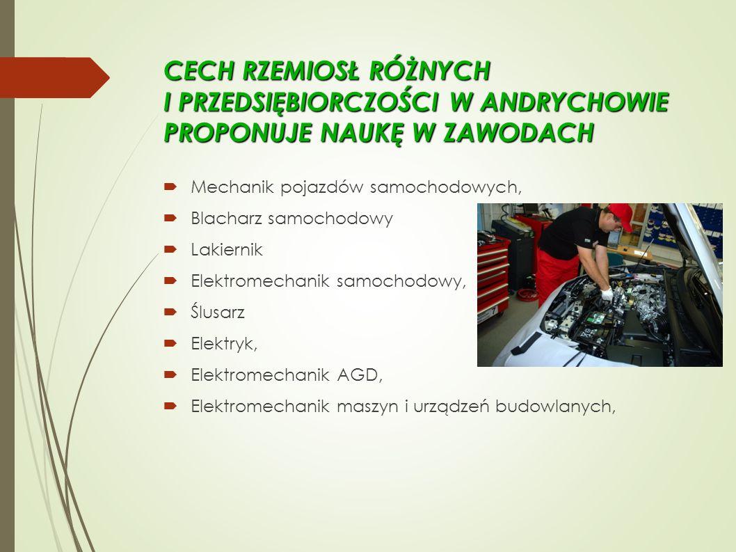 CECH RZEMIOSŁ RÓŻNYCH I PRZEDSIĘBIORCZOŚCI W ANDRYCHOWIE PROPONUJE NAUKĘ W ZAWODACH  Mechanik pojazdów samochodowych,  Blacharz samochodowy  Lakiernik  Elektromechanik samochodowy,  Ślusarz  Elektryk,  Elektromechanik AGD,  Elektromechanik maszyn i urządzeń budowlanych,