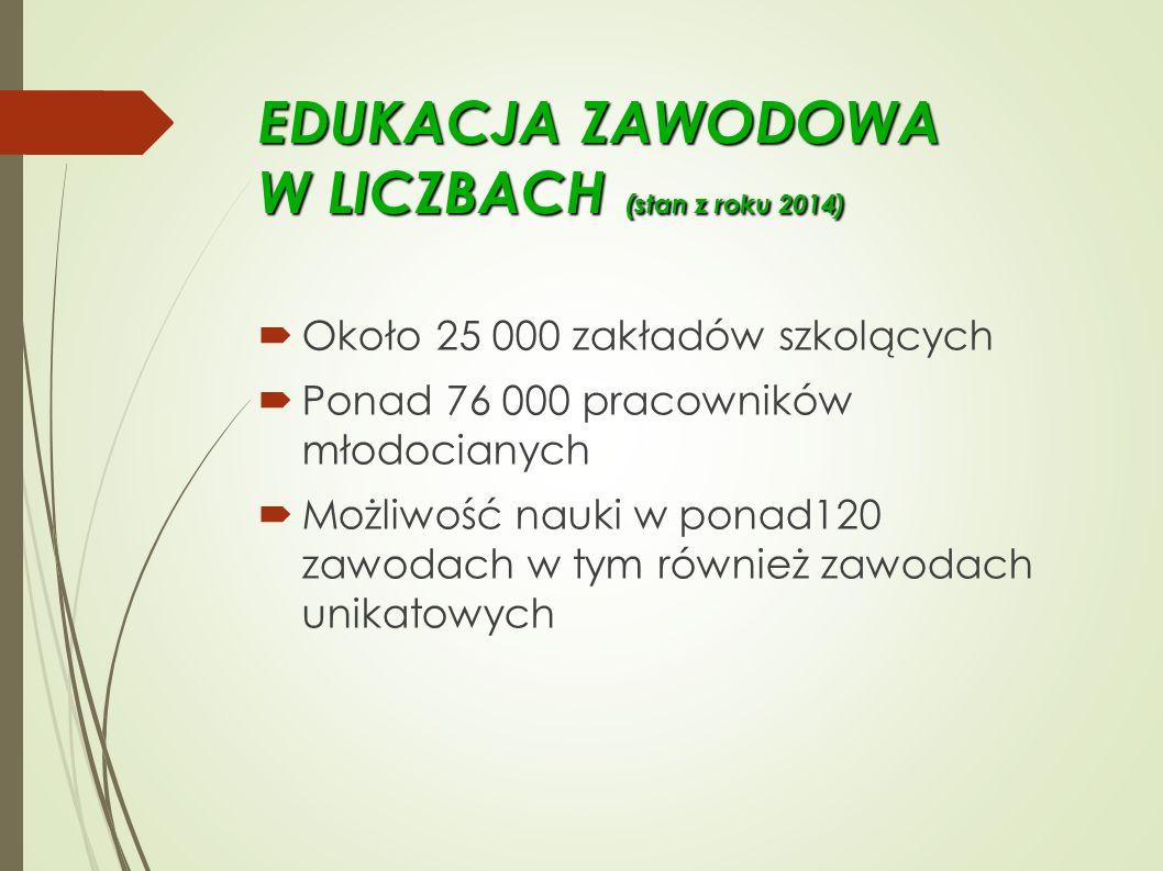 EDUKACJA ZAWODOWA W LICZBACH (stan z roku 2014)  Około 25 000 zakładów szkolących  Ponad 76 000 pracowników młodocianych  Możliwość nauki w ponad120 zawodach w tym również zawodach unikatowych