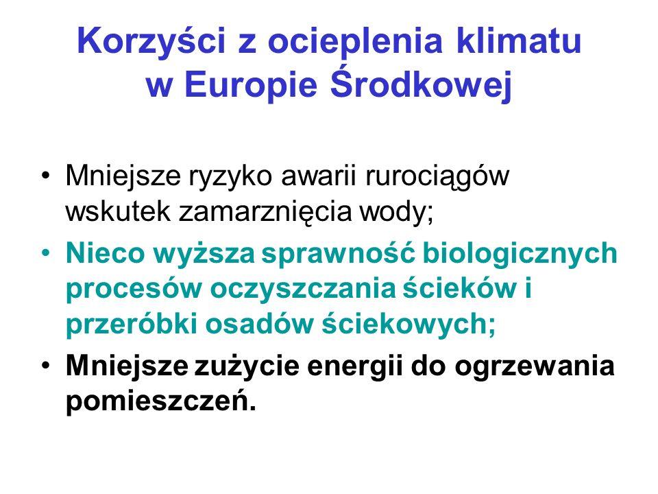 Korzyści z ocieplenia klimatu w Europie Środkowej Mniejsze ryzyko awarii rurociągów wskutek zamarznięcia wody; Nieco wyższa sprawność biologicznych procesów oczyszczania ścieków i przeróbki osadów ściekowych; Mniejsze zużycie energii do ogrzewania pomieszczeń.