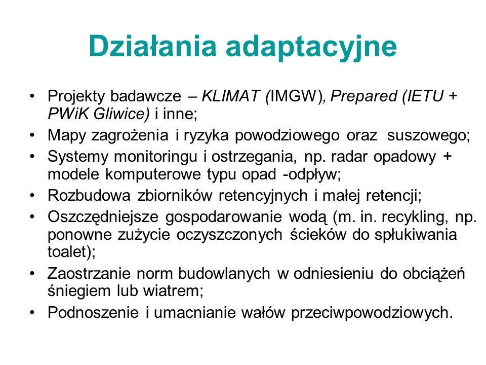 Działania adaptacyjne Projekty badawcze – KLIMAT (IMGW), Prepared (IETU + PWiK Gliwice) i inne; Mapy zagrożenia i ryzyka powodziowego oraz suszowego; Systemy monitoringu i ostrzegania, np.