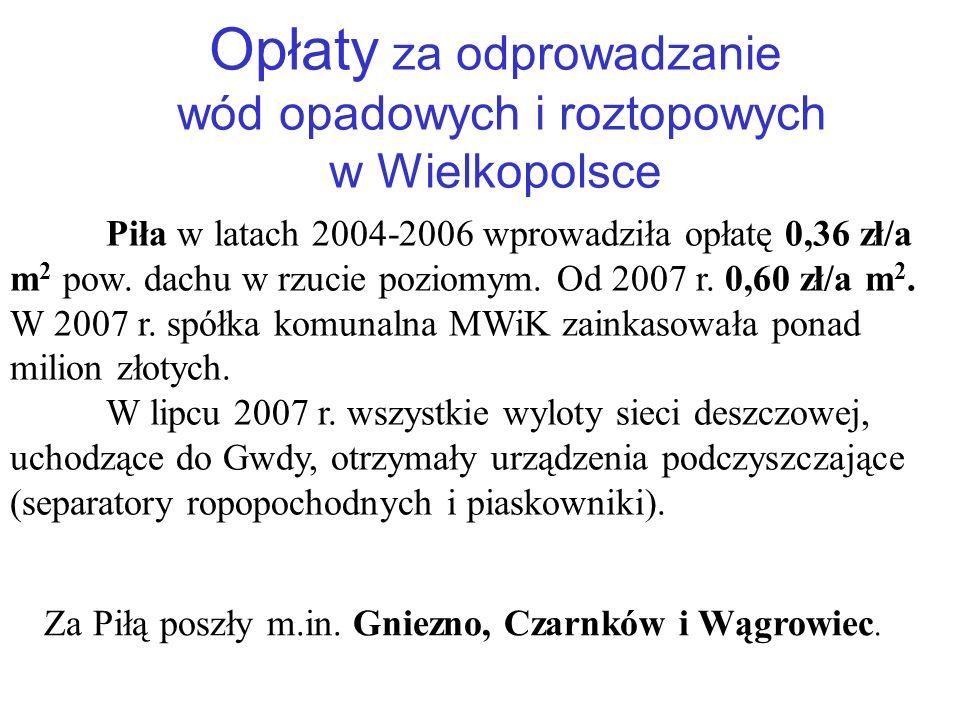 Opłaty za odprowadzanie wód opadowych i roztopowych w Wielkopolsce Piła w latach 2004-2006 wprowadziła opłatę 0,36 zł/a m 2 pow.
