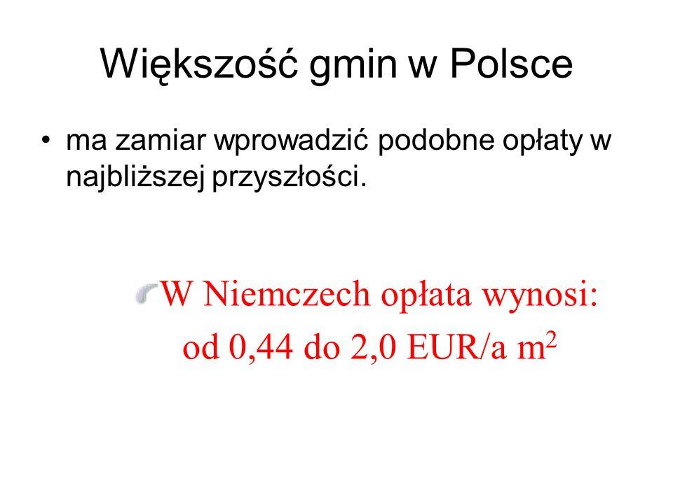 Większość gmin w Polsce ma zamiar wprowadzić podobne opłaty w najbliższej przyszłości.