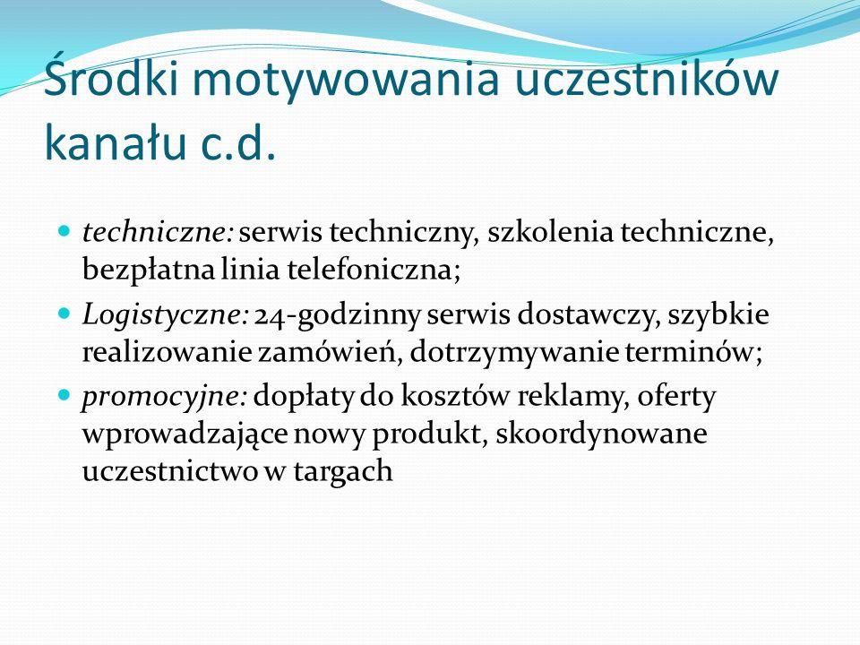 Środki motywowania uczestników kanału c.d.