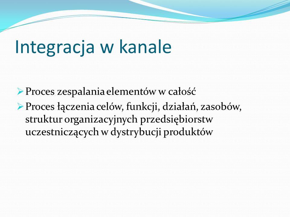Integracja w kanale  Proces zespalania elementów w całość  Proces łączenia celów, funkcji, działań, zasobów, struktur organizacyjnych przedsiębiorstw uczestniczących w dystrybucji produktów