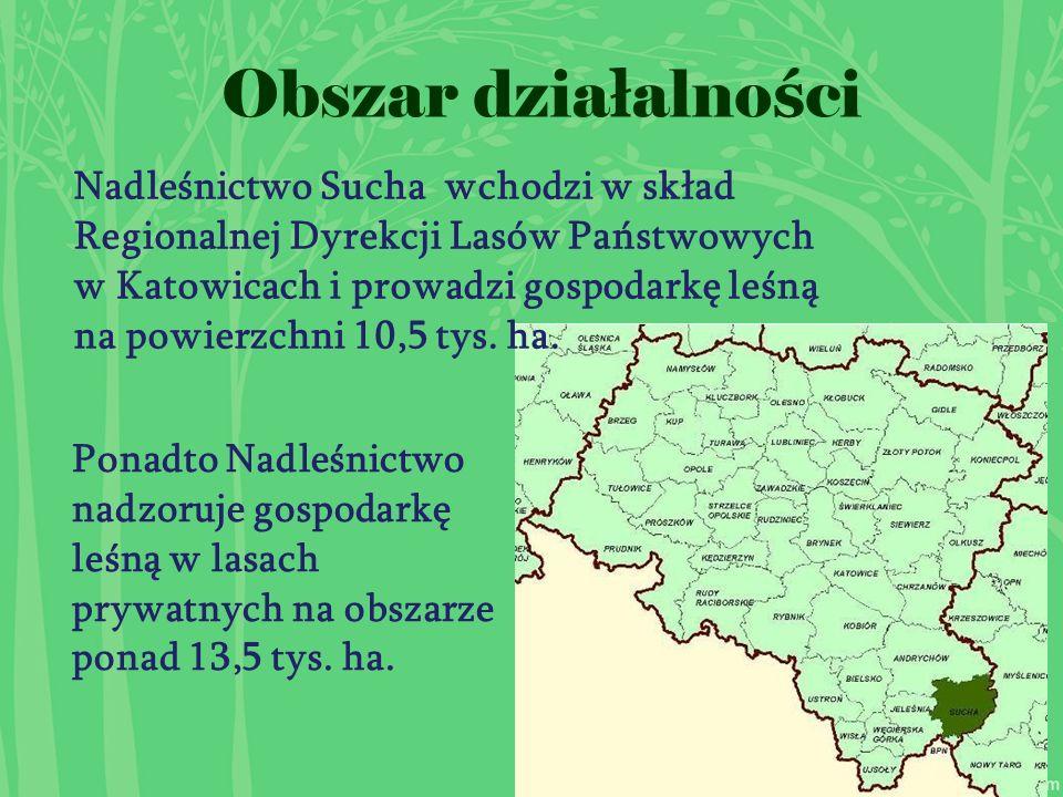 Obszar dzia ł alno ś ci Ponadto Nadleśnictwo nadzoruje gospodarkę leśną w lasach prywatnych na obszarze ponad 13,5 tys.
