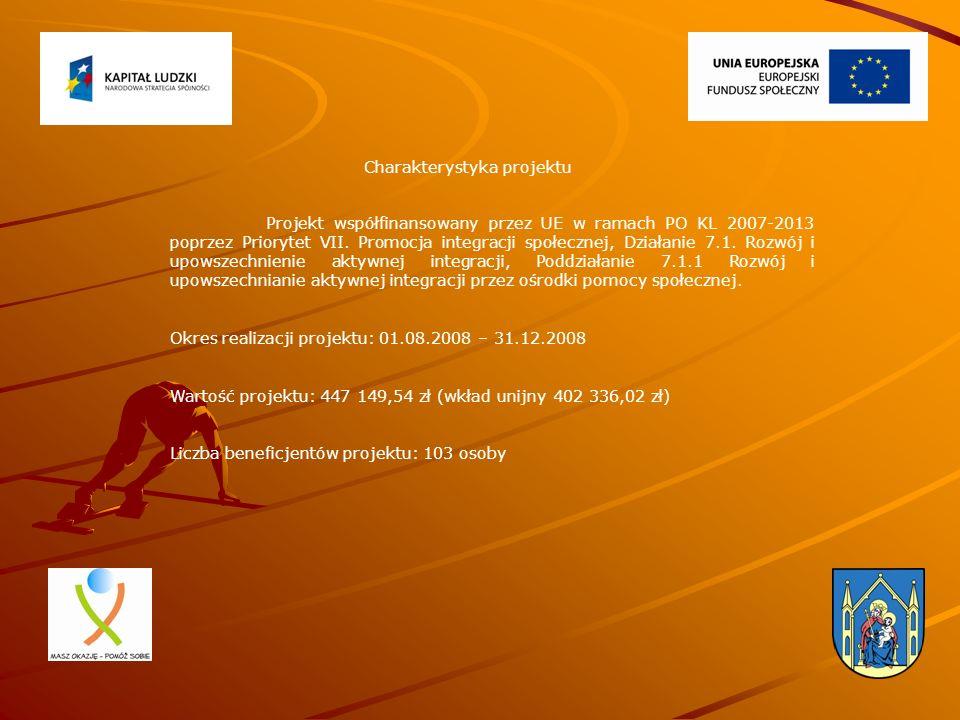 Charakterystyka projektu Projekt współfinansowany przez UE w ramach PO KL 2007-2013 poprzez Priorytet VII. Promocja integracji społecznej, Działanie 7
