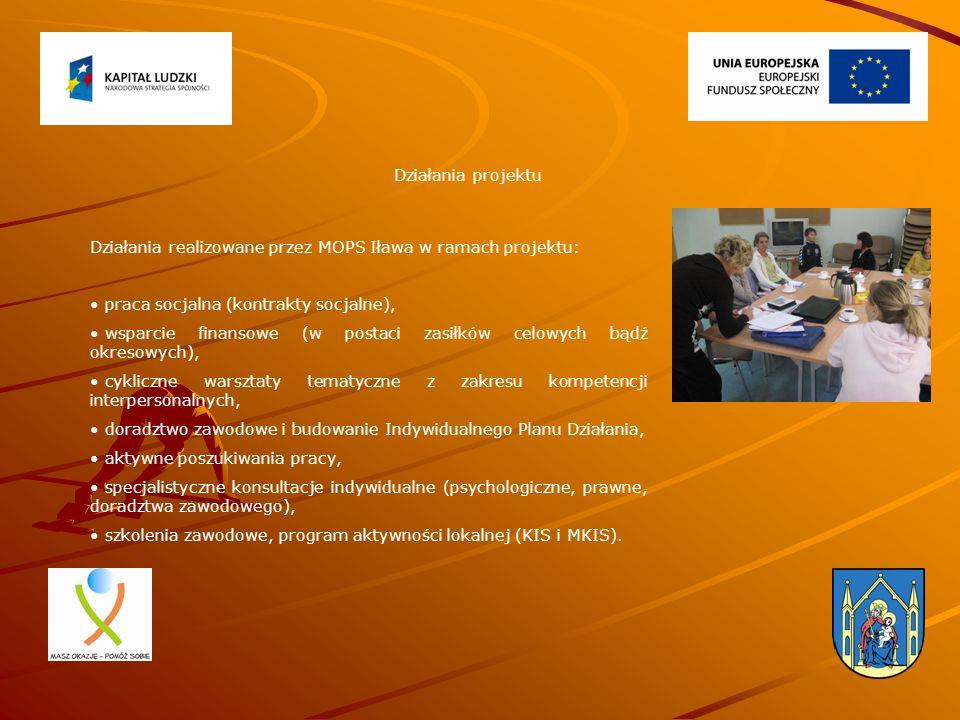 Działania realizowane przez MOPS Iława w ramach projektu: praca socjalna (kontrakty socjalne), wsparcie finansowe (w postaci zasiłków celowych bądź okresowych), cykliczne warsztaty tematyczne z zakresu kompetencji interpersonalnych, doradztwo zawodowe i budowanie Indywidualnego Planu Działania, aktywne poszukiwania pracy, specjalistyczne konsultacje indywidualne (psychologiczne, prawne, doradztwa zawodowego), szkolenia zawodowe, program aktywności lokalnej (KIS i MKIS).
