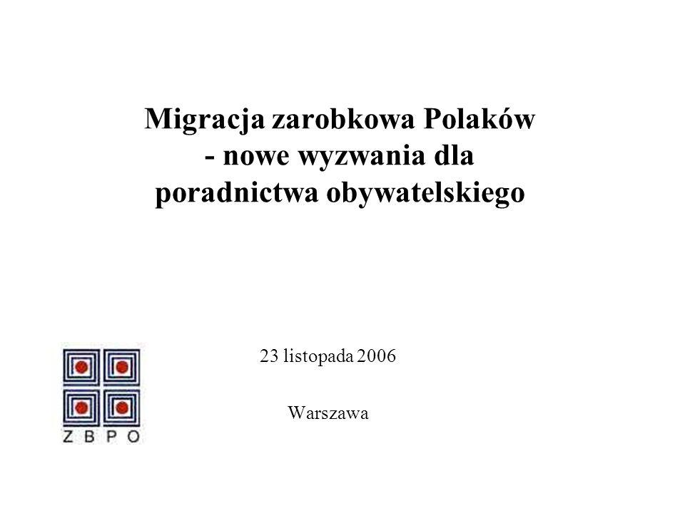 Migracja zarobkowa Polaków - nowe wyzwania dla poradnictwa obywatelskiego 23 listopada 2006 Warszawa