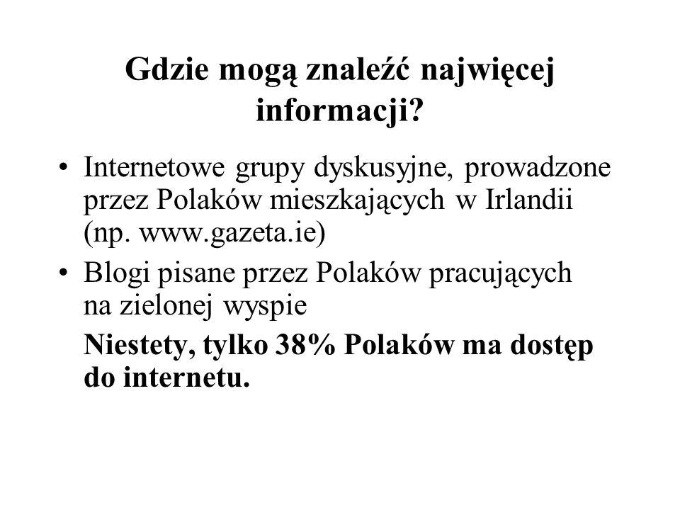 Gdzie mogą znaleźć najwięcej informacji? Internetowe grupy dyskusyjne, prowadzone przez Polaków mieszkających w Irlandii (np. www.gazeta.ie) Blogi pis