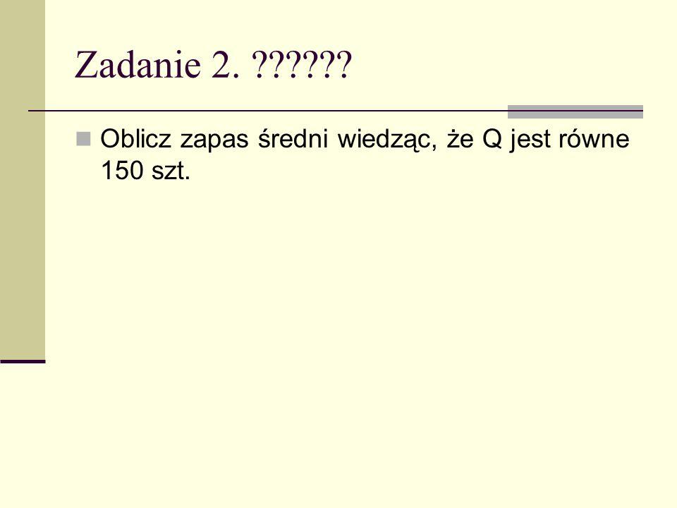 Zadanie 2. ?????? Oblicz zapas średni wiedząc, że Q jest równe 150 szt.