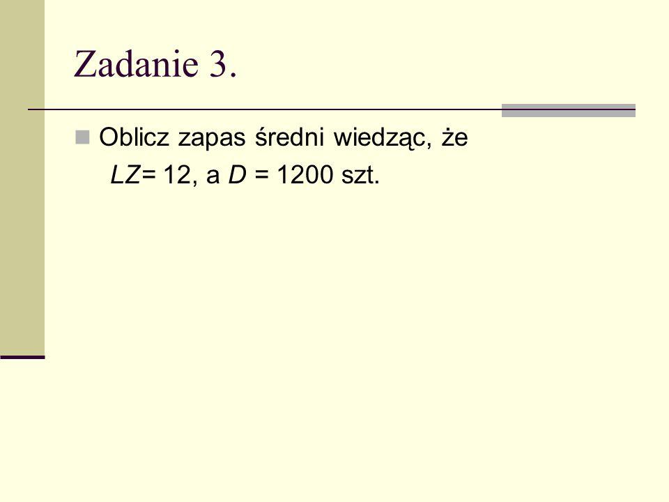 Zadanie 3. Oblicz zapas średni wiedząc, że LZ= 12, a D = 1200 szt.