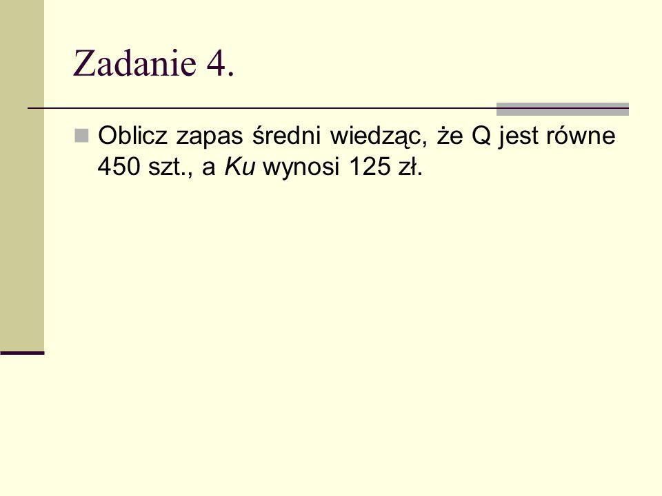 Zadanie 4. Oblicz zapas średni wiedząc, że Q jest równe 450 szt., a Ku wynosi 125 zł.