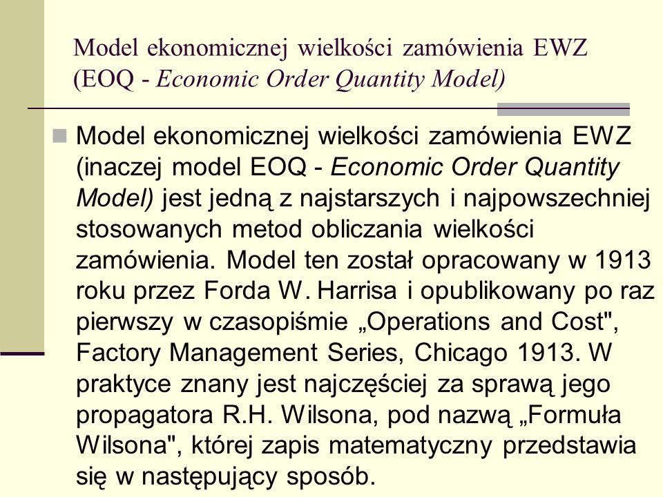 Model ekonomicznej wielkości zamówienia EWZ (EOQ - Economic Order Quantity Model) Model ekonomicznej wielkości zamówienia EWZ (inaczej model EOQ - Eco