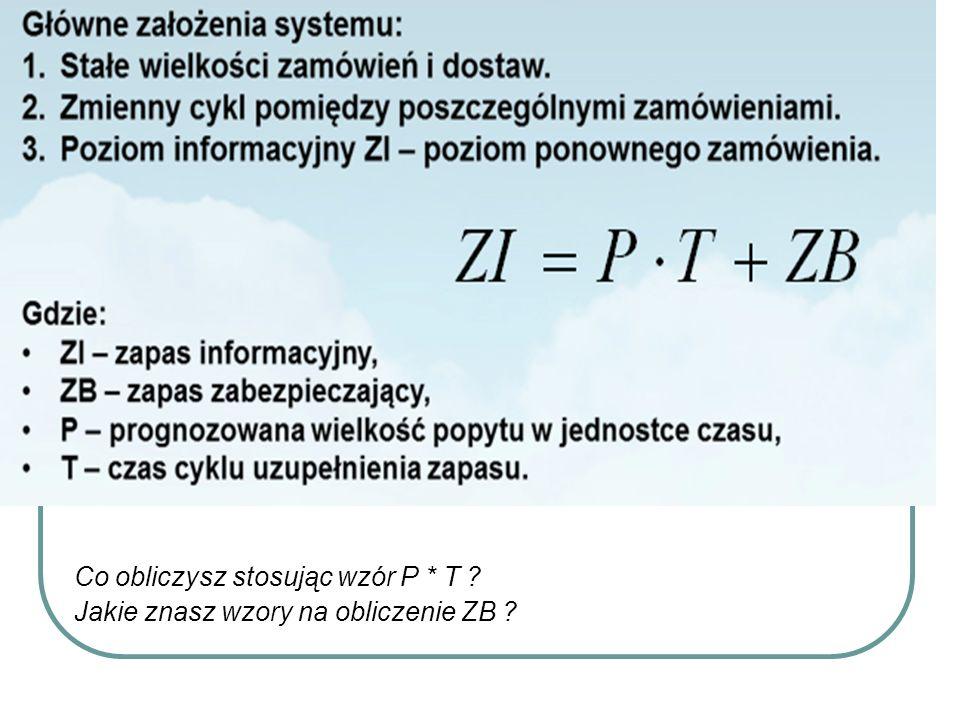 Co obliczysz stosując wzór P * T ? Jakie znasz wzory na obliczenie ZB ?