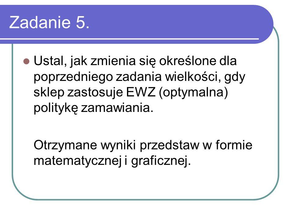 Zadanie 5. Ustal, jak zmienia się określone dla poprzedniego zadania wielkości, gdy sklep zastosuje EWZ (optymalna) politykę zamawiania. Otrzymane wyn