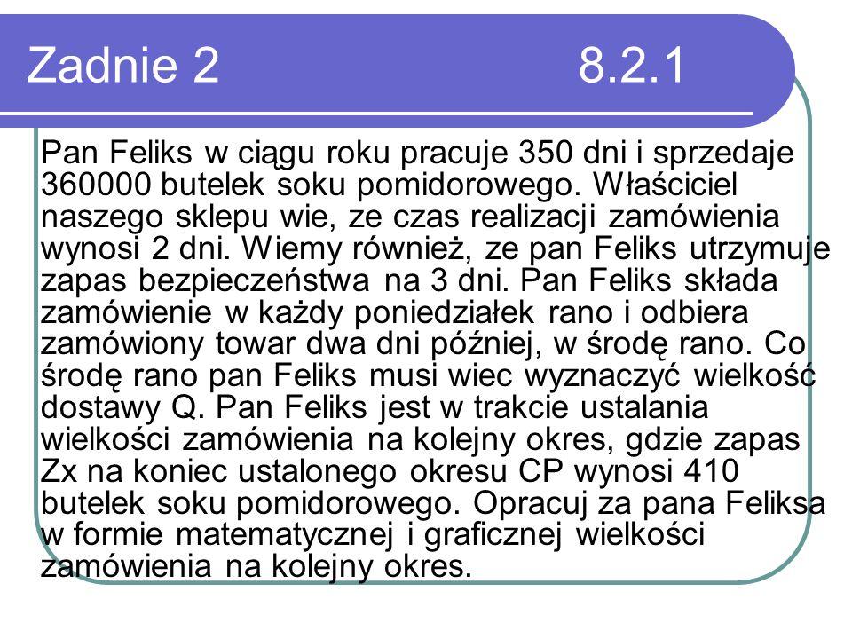 Zadnie 2 8.2.1 Pan Feliks w ciągu roku pracuje 350 dni i sprzedaje 360000 butelek soku pomidorowego. Właściciel naszego sklepu wie, ze czas realizacji