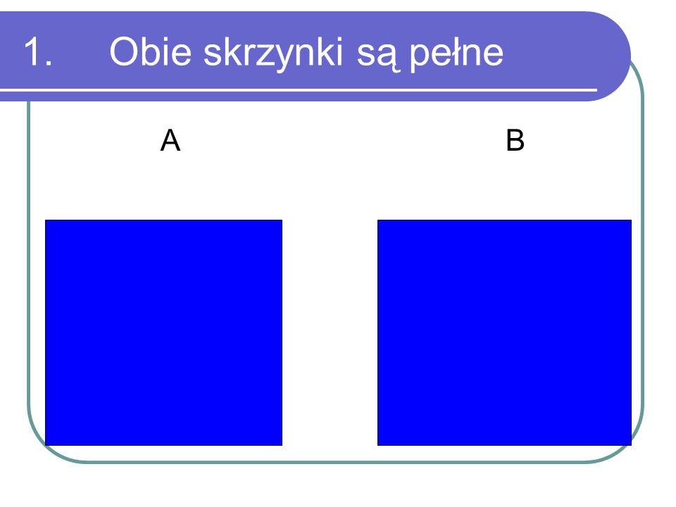 1. Obie skrzynki są pełne A B