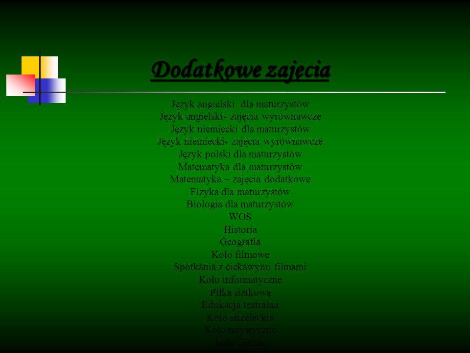 Język angielski dla maturzystów Język angielski- zajęcia wyrównawcze Język niemiecki dla maturzystów Język niemiecki- zajęcia wyrównawcze Język polski