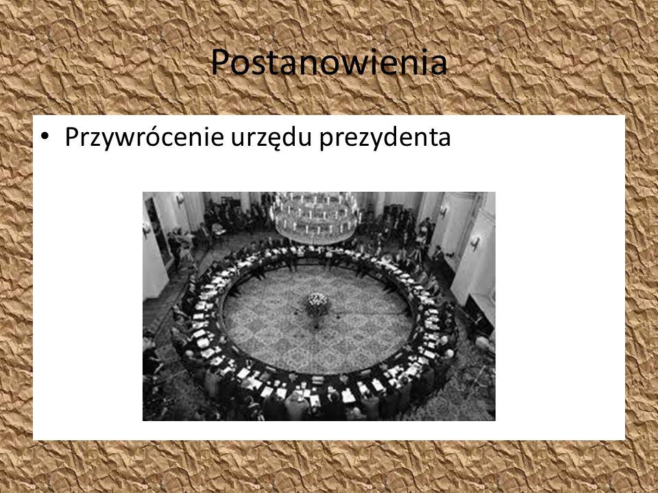 Postanowienia Przywrócenie urzędu prezydenta