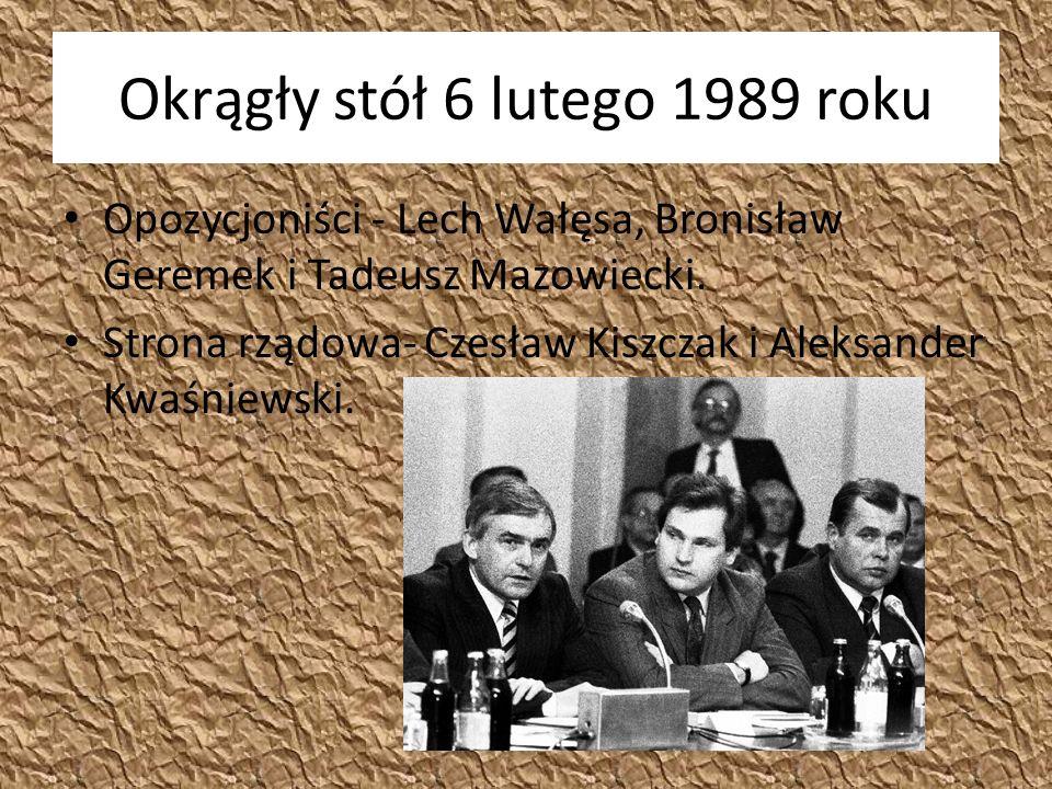 Okrągły stół 6 lutego 1989 roku Opozycjoniści - Lech Wałęsa, Bronisław Geremek i Tadeusz Mazowiecki.