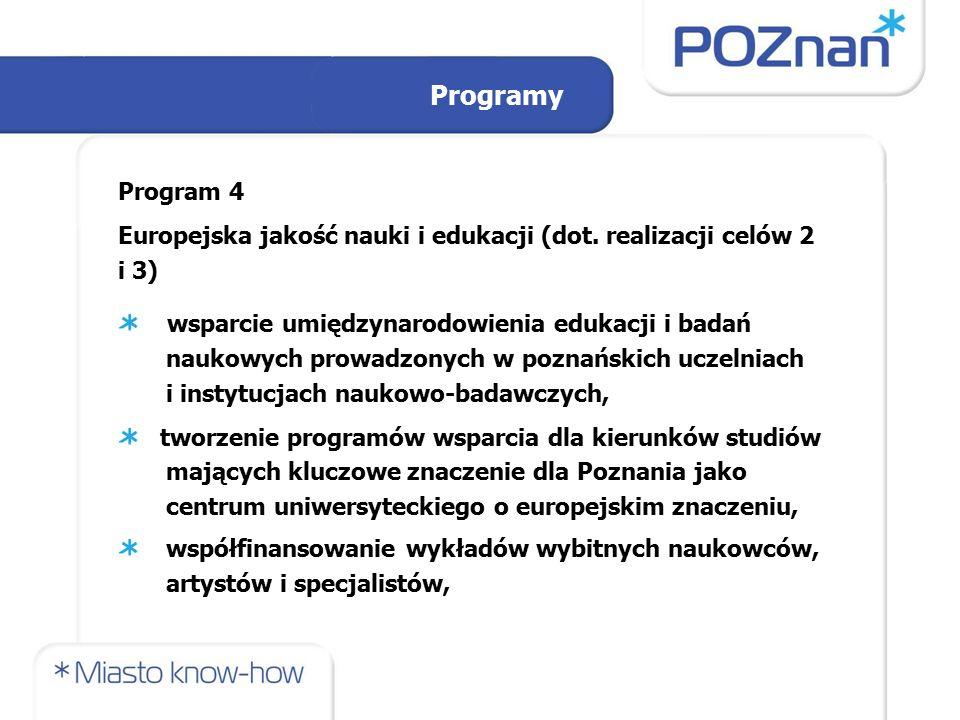 Programy Program 4 Europejska jakość nauki i edukacji (dot. realizacji celów 2 i 3) wsparcie umiędzynarodowienia edukacji i badań naukowych prowadzony