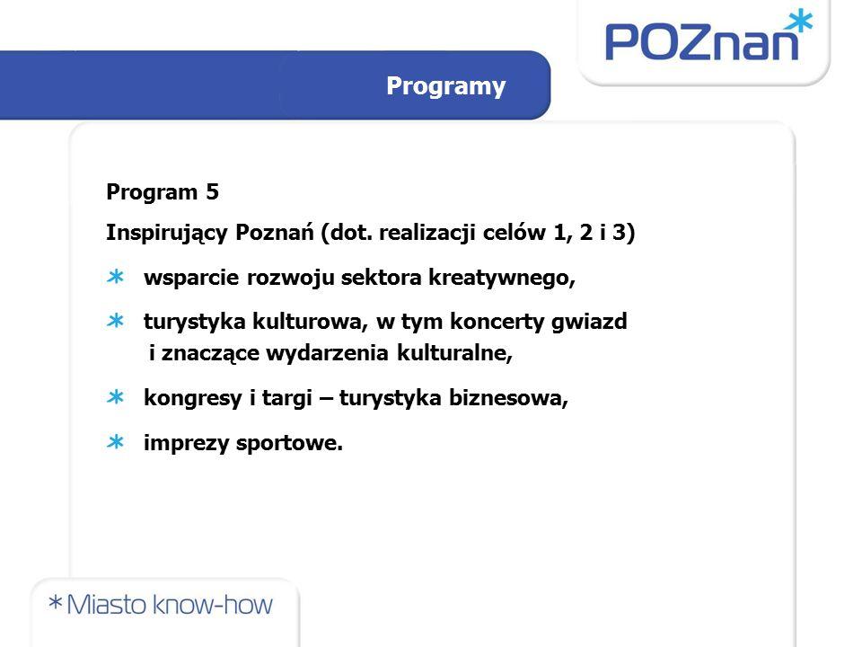 Programy Program 5 Inspirujący Poznań (dot. realizacji celów 1, 2 i 3) wsparcie rozwoju sektora kreatywnego, turystyka kulturowa, w tym koncerty gwiaz