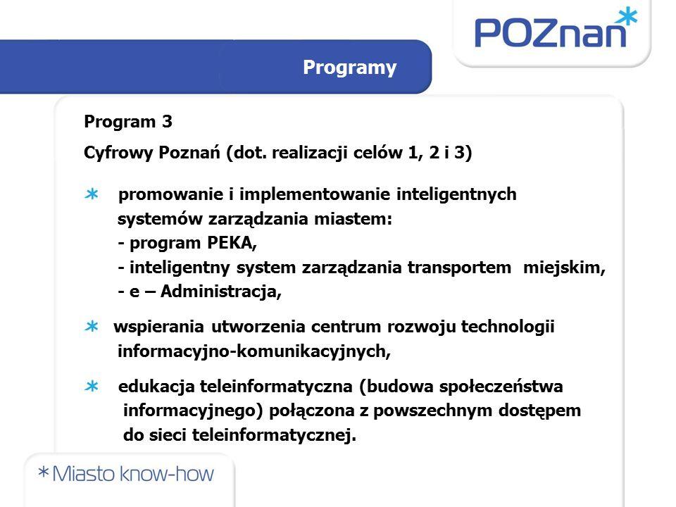 Program 3 Cyfrowy Poznań (dot. realizacji celów 1, 2 i 3) promowanie i implementowanie inteligentnych systemów zarządzania miastem: - program PEKA, -