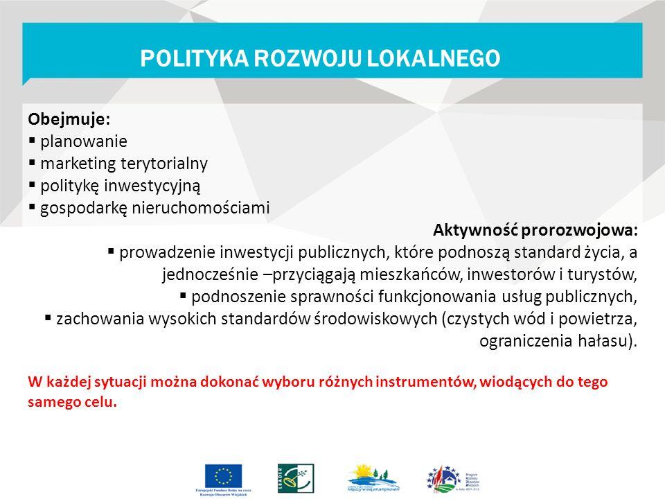 Obejmuje:  planowanie  marketing terytorialny  politykę inwestycyjną  gospodarkę nieruchomościami Aktywność prorozwojowa:  prowadzenie inwestycji