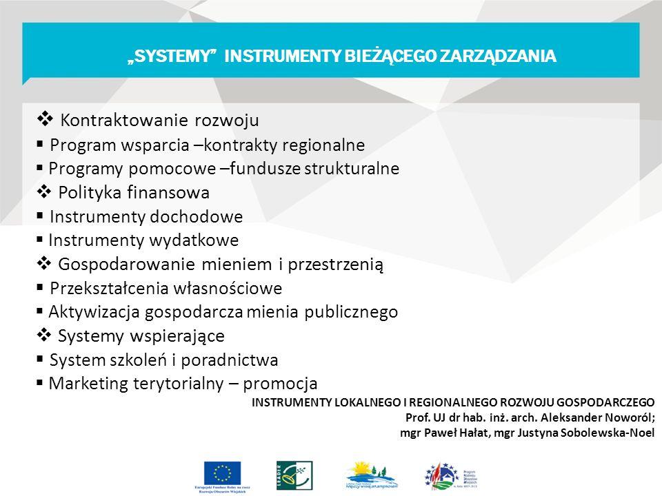  Kontraktowanie rozwoju  Program wsparcia –kontrakty regionalne  Programy pomocowe –fundusze strukturalne  Polityka finansowa  Instrumenty dochodowe  Instrumenty wydatkowe  Gospodarowanie mieniem i przestrzenią  Przekształcenia własnościowe  Aktywizacja gospodarcza mienia publicznego  Systemy wspierające  System szkoleń i poradnictwa  Marketing terytorialny – promocja INSTRUMENTY LOKALNEGO I REGIONALNEGO ROZWOJU GOSPODARCZEGO Prof.