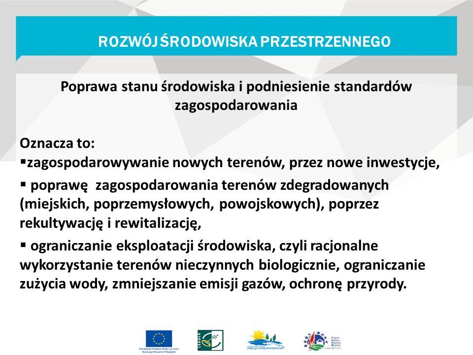Poprawa stanu środowiska i podniesienie standardów zagospodarowania Oznacza to:  zagospodarowywanie nowych terenów, przez nowe inwestycje,  poprawę