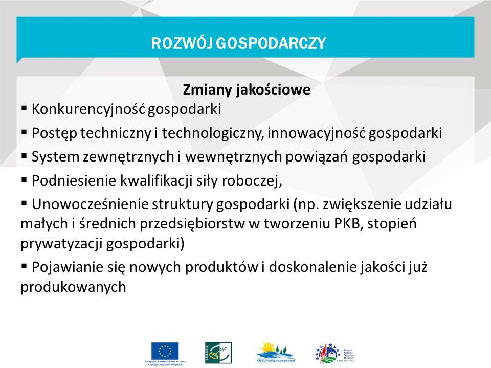 Zmiany jakościowe  Konkurencyjność gospodarki  Postęp techniczny i technologiczny, innowacyjność gospodarki  System zewnętrznych i wewnętrznych pow