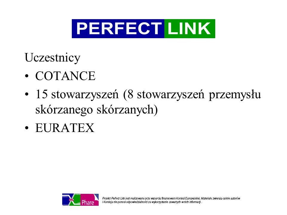 Uczestnicy COTANCE 15 stowarzyszeń (8 stowarzyszeń przemysłu skórzanego skórzanych) EURATEX