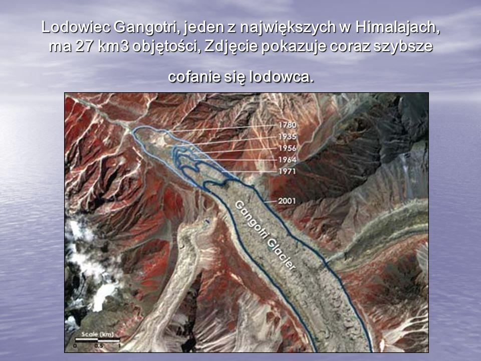 Lodowiec Gangotri, jeden z największych w Himalajach, ma 27 km3 objętości, Zdjęcie pokazuje coraz szybsze cofanie się lodowca.