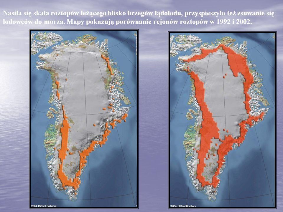 Nasila się skala roztopów leżącego blisko brzegów lądolodu, przyspieszyło też zsuwanie się lodowców do morza. Mapy pokazują porównanie rejonów roztopó