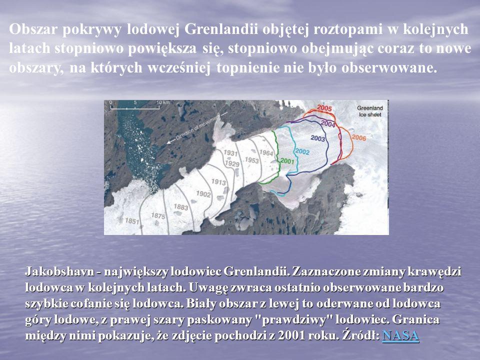Obszar pokrywy lodowej Grenlandii objętej roztopami w kolejnych latach stopniowo powiększa się, stopniowo obejmując coraz to nowe obszary, na których