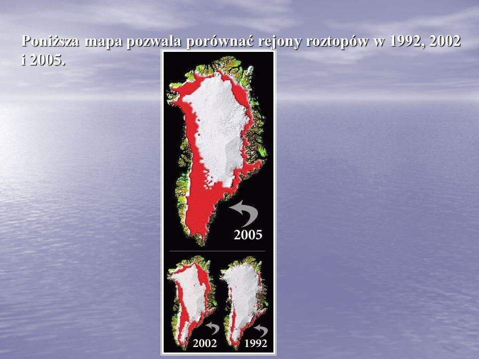 Poniższa mapa pozwala porównać rejony roztopów w 1992, 2002 i 2005.