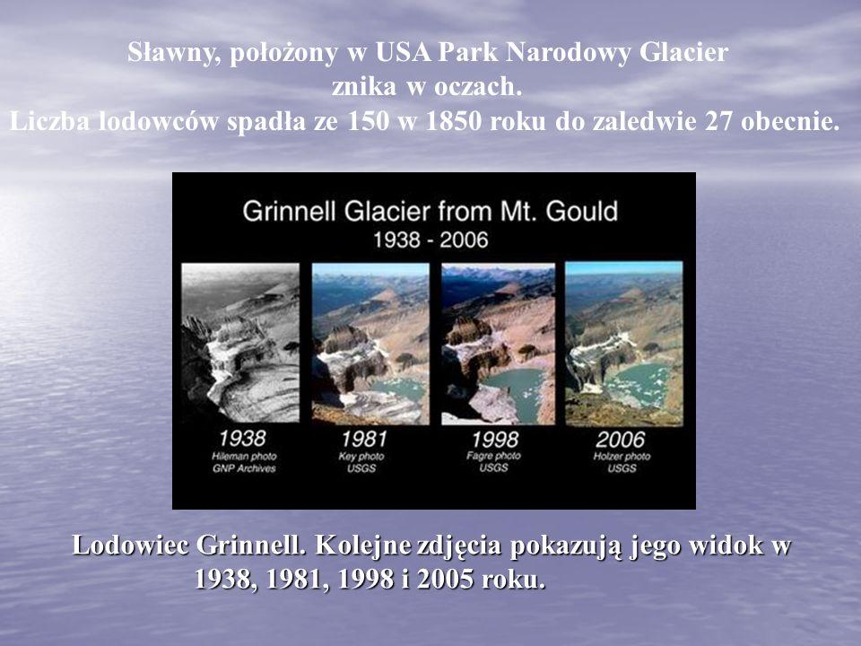 Sławny, położony w USA Park Narodowy Glacier znika w oczach. Liczba lodowców spadła ze 150 w 1850 roku do zaledwie 27 obecnie. Lodowiec Grinnell. Kole
