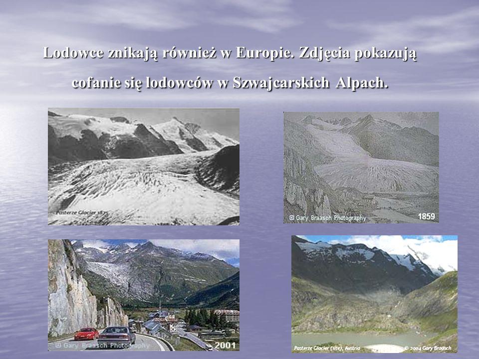 Lodowce znikają również w Europie. Zdjęcia pokazują cofanie się lodowców w Szwajcarskich Alpach.