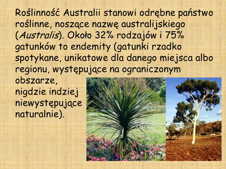 Roślinność Australii stanowi odrębne państwo roślinne, noszące nazwę australijskiego (Australis).