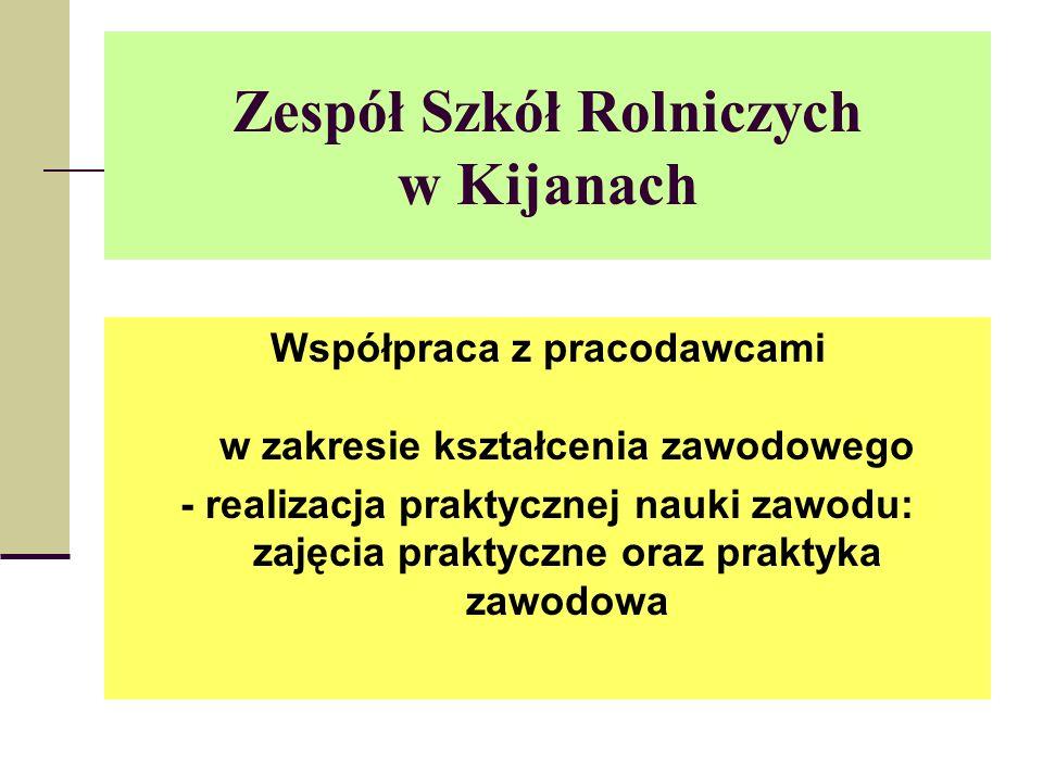 Zespół Szkół Rolniczych w Kijanach Współpraca z pracodawcami w zakresie kształcenia zawodowego - realizacja praktycznej nauki zawodu: zajęcia praktyczne oraz praktyka zawodowa